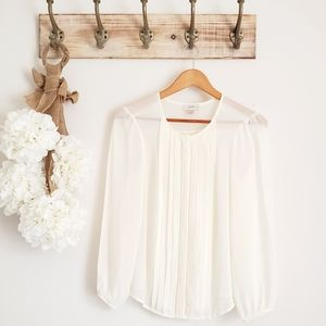 Loft AnnTaylor Long Sleeve Off White Blouse NWOT